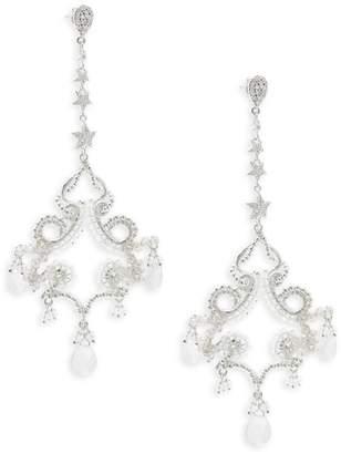 Azaara Women's Swarovski Crystal & White Quartz Drop Earrings