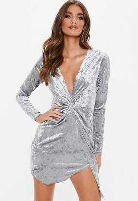 Missguided Gray Crushed Velvet Long Sleeve Twist Wrap Dress