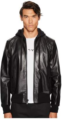 Marc Jacobs Hooded Leather Jacket Men's Coat
