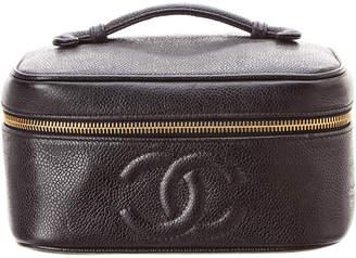 Chanel Black Caviar Leather Horizontal Vanity Case