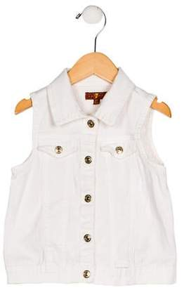 7 For All Mankind Girls' Collar Button-Up Vest