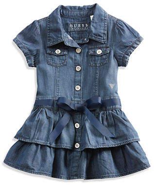 GUESS Girl Ruffled Chambray Shirtdress 12-24M
