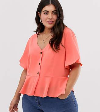 Brave Soul Plus tea blouse with button front