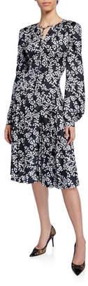 Zac Posen Floral-Print Tie-Neck Blouson-Sleeve Silk Twill Dress