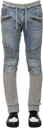 Balmain 15cm Denim & Jersey Biker Sweatpants