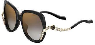 Elie Saab Square Acetate Sunglasses w/ Crystal Wave Arms
