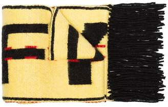 Off-White yellow and black industrial wool blend scarf