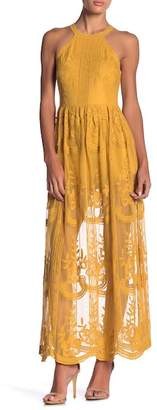 Honey Punch Embroidered Lace Knit Semi-Sheer Maxi Dress