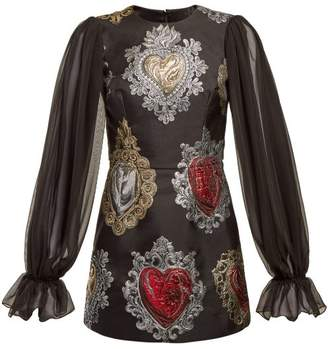 Dolce & Gabbana Sacred Hearts Brocade Mini Dress - Womens - Black Multi