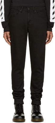 Off-White Black Brushed Diagonals Jeans $420 thestylecure.com