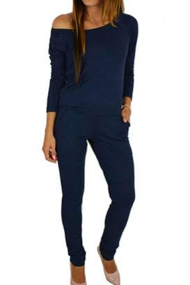 70b9d45dcd Zilcremo Womens Jumpsuits Rompers Casual Long Sleeve Off Shoulder Long  Jumpsuit XXL