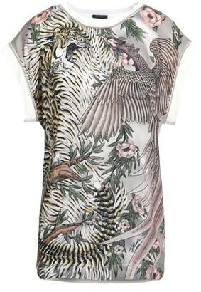 Just Cavalli Printed Twill And Jersey T-Shirt