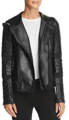 Blanc Noir Voyage Leather & Mesh Hooded Moto Jacket