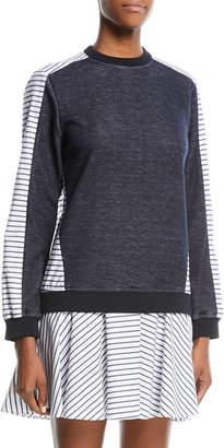Neiman Marcus Prose & Poetry Tanner Drop-Waist Striped Sweatshirt Dress
