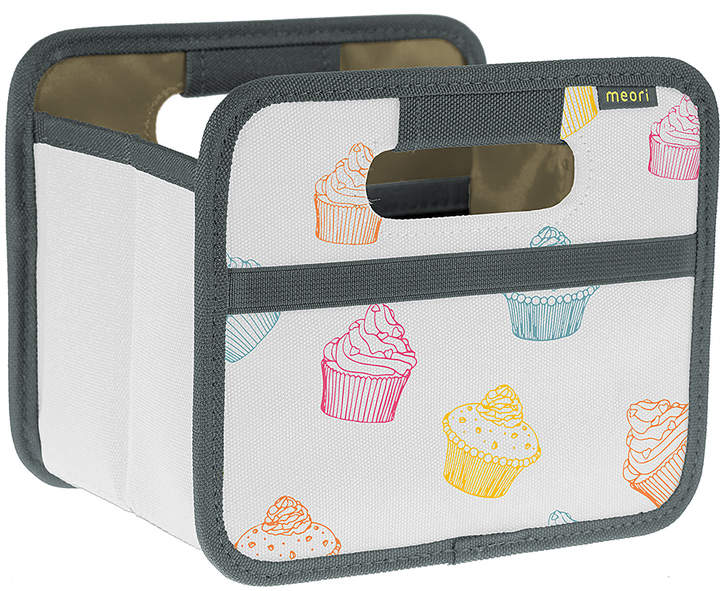 White Colorful Cupcakes Folding Mini Storage Box