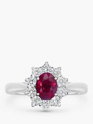 EWA 18ct White Gold Ruby and Diamond Cluster Engagement Ring, 1.11ct