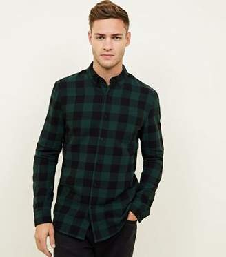 New Look Dark Green Buffalo Check Button Down Shirt