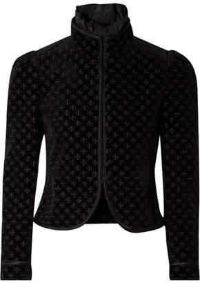 Saint Laurent Embroidered Silk-trimmed Cotton-blend Velvet Jacket - Black