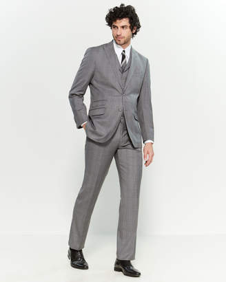 English Laundry 3-Piece Grey Windowpane Wool-Blend Plaid Suit