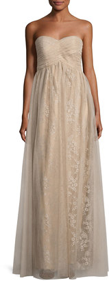 Donna Morgan Shimmer-Tulle Strapless Dress, Nude $197 thestylecure.com