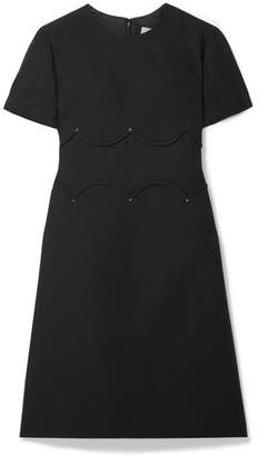 Valentino Studded Wool And Silk-blend Crepe Mini Dress - Black