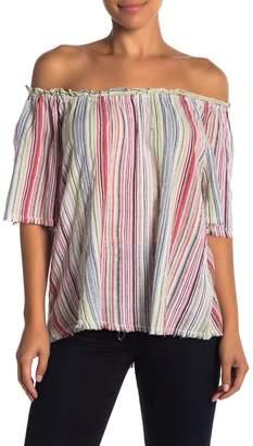 Velvet by Graham & Spencer Nova Off-the-Shoulder Striped Shirt