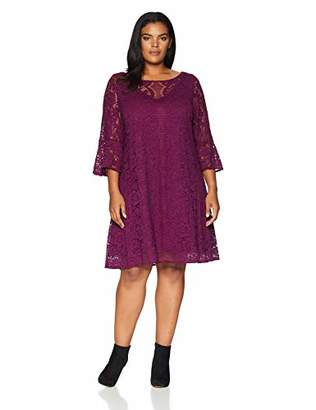 Gabby Skye Women's Plus Size 3/4 Sleeve Round Neck Lace Sheath Dress