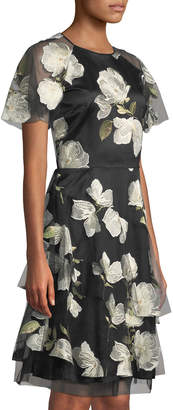 Tahari ASL Short-Sleeve Floral-Embroidered Mesh Dress
