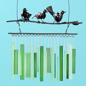 Balinese Glass and Metal Bird Windchimes