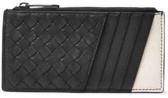 Bottega Veneta Two-Tone Intrecciato Leather Zipped Cardholder