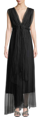 Chiara Boni Vanda V-Neck Sleeveless Wrap-Belt Illusion Tulle Evening Gown