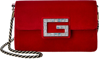 Gucci Crystal G Velvet Shoulder Bag
