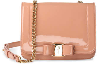 Salvatore Ferragamo Vara nude patent leather shoudler bag