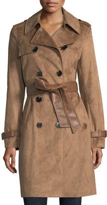 Via Spiga Double-Breasted Faux-Suede Trenchcoat $185 thestylecure.com