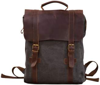 EAZO - Canvas & Leather Backpack in Grey