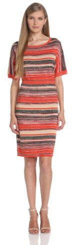 Evolution by Cyrus Women's Short Sleeve Boat Neck Space Dye Dress with Lurex