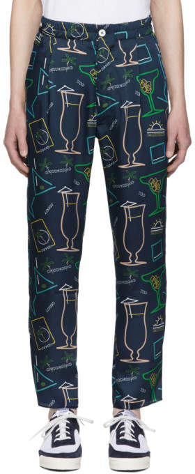 Blue Satin Cocktail Print Trousers