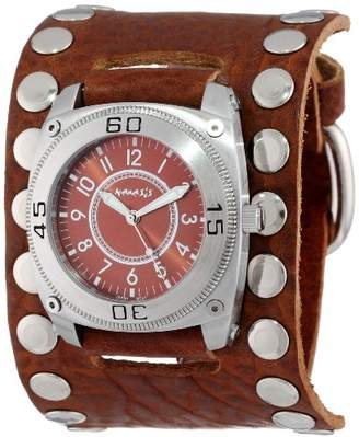 Nemesis Men's BSM012B Signature Stainless Steel Divers Dial Leather Cuff Watch