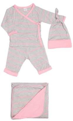 Baby Grey Kimono Top, Pants, Beanie & Receiving Blanket Set