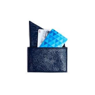 Holly & Tanager Insider Leather Card Holder Wallet In Navy Patent