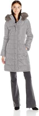 Calvin Klein Women's Puffer Long Coat with Faux Fur Trimmed Hood