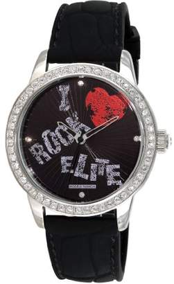 Elite Models 'Fashion E52929-002 – Ladies Watch – Analogue Quartz – Black Dial – Black Rubber Strap