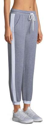 Monrow Sporty Heathered Drawstring Side-Stripe Sweatpants