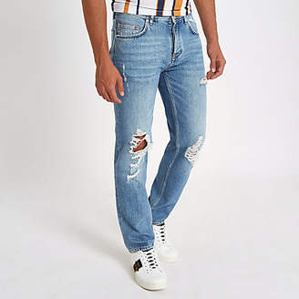 River Island Light blue Bobby ripped standard jeans