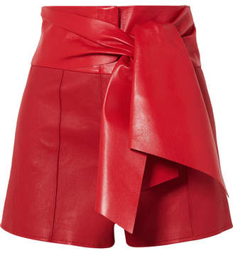 Valentino Bow-detailed Leather Shorts - Red