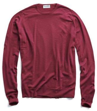 John Smedley Sweaters Easy Fit Merino Crewneck Sweater in Wine