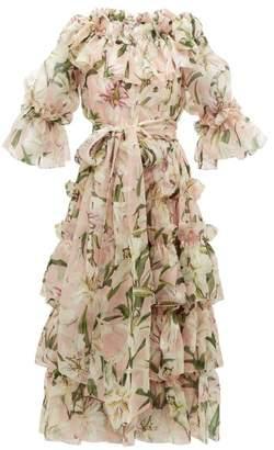 Dolce & Gabbana Lily Print Ruffled Silk Organza Midi Dress - Womens - Pink Multi