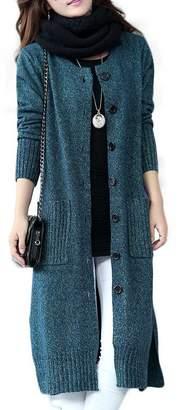 KUBITU Womens Classic Button Down Pocket Knit Long Large Warm Cardigan Sweater Coat Medium