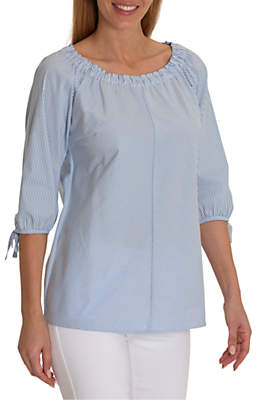 Betty Barclay Tie Sleeve Striped Blouse, Blue/Cream