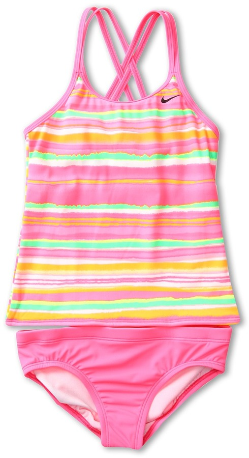 Nike Tie Dye Stripe Spider Back Tankini 2-Piece Girl's Swimwear Sets